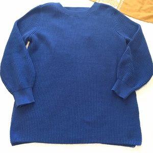 LOFT Blue Knit Sweater Open Back Detail NEW XL